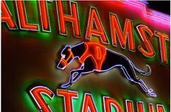 Iconic neon stadium facade